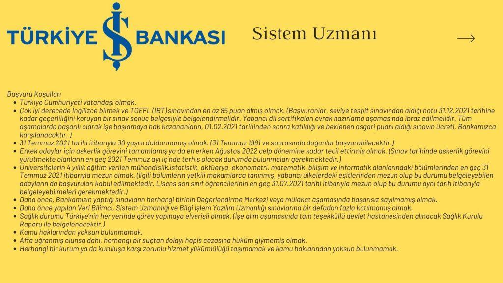 Türkiye İş Bankası Sistem Uzmanı İş Başvurusu