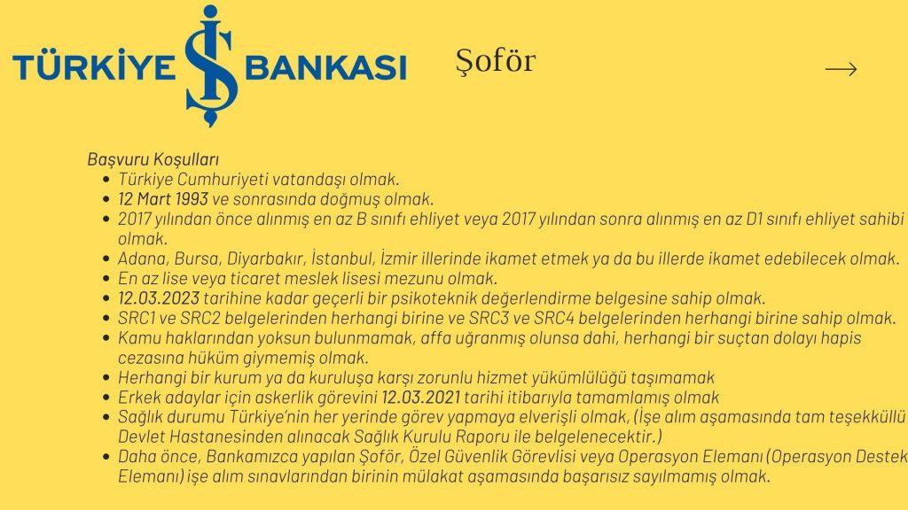 Türkiye İş Bankası Şoför İş Başvurusu